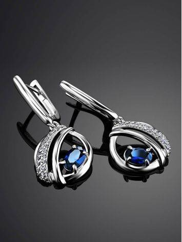 Silver Dangles With Synthetic Sapphire And Crystals, image , picture 2