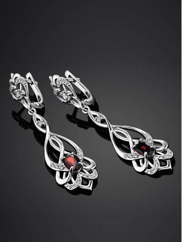Silver Dangles With Garnet And Crystals, image , picture 2