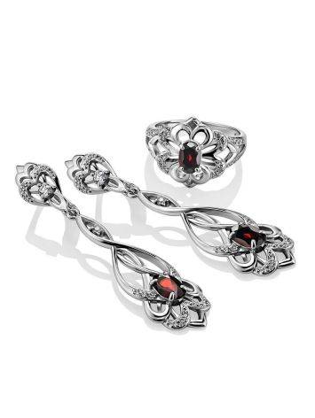 Silver Dangles With Garnet And Crystals, image , picture 3