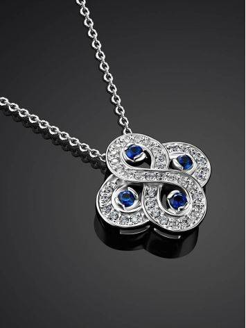 Silver Necklace With Blue And White Crystals, Length: 45, image , picture 2