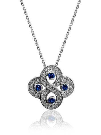 Silver Necklace With Blue And White Crystals, Length: 45, image