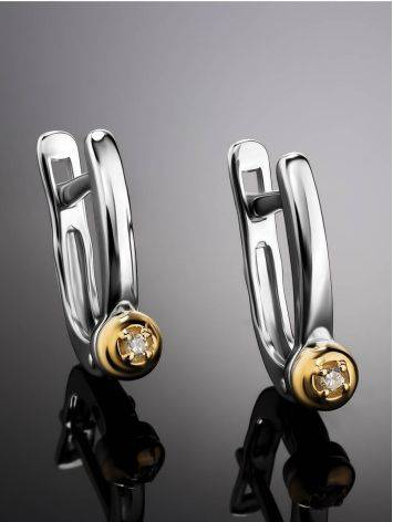 Silver Golden Diamond Earrings The Diva, image , picture 2