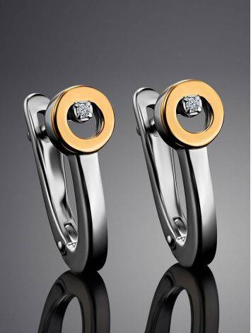 Modern Silver Golden Earrings With Diamond The Diva, image , picture 2