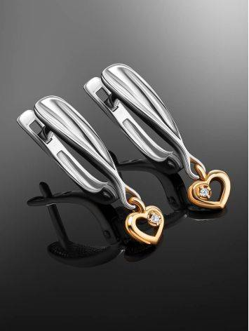 Silver Earrings With Golden Diamond Dangles The Diva, image , picture 2
