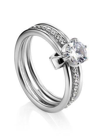 Silver Stackable Triple Band Ring With Crystals, Ring Size: 6 / 16.5, image
