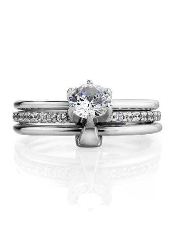 Silver Stackable Triple Band Ring With Crystals, Ring Size: 6 / 16.5, image , picture 3