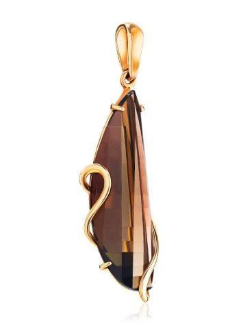 Faceted Smoky Quartz Golden Pendant, image , picture 3