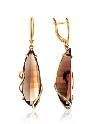 Faceted Smoky Quartz Golden Dangle Earrings, image