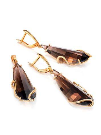 Faceted Smoky Quartz Golden Dangle Earrings, image , picture 3