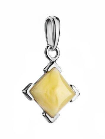 Square Silver Amber Pendant The Artemis, image , picture 3