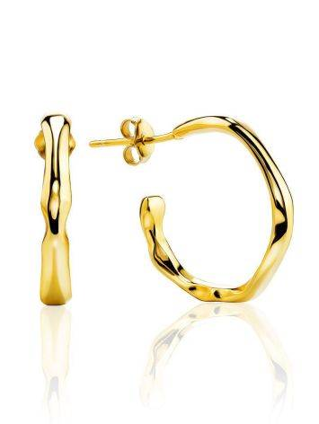 18ct Gold on Sterling Silver Hammered Hoop Earrings, image