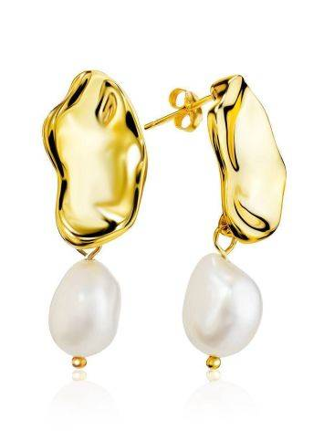 18ct Gold on Sterling Silver Disk Dangles with Pearl, image