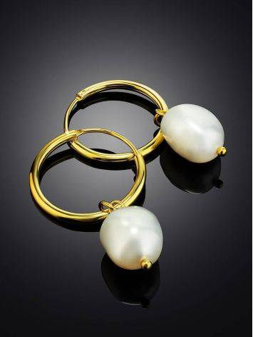 18ct Gold on Sterling Silver Hoop Earrings with Pearl Charm, image , picture 2