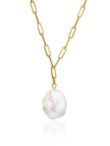 18ct Gold on Sterling Silver Link Chain Necklace with Pearl Drop Pendant, image