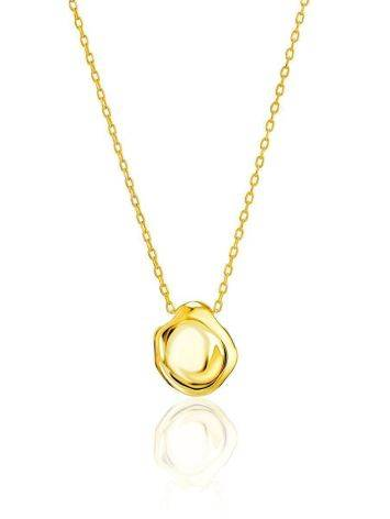 18ct Gold on Sterling Silver Textured Disk Pendant Necklace, image