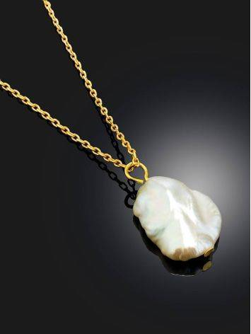 18ct Gold on Sterling Silver ​Pearl Pendant Necklace, image , picture 2