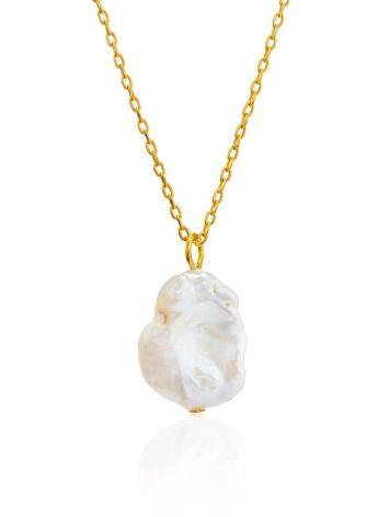 18ct Gold on Sterling Silver Pearl Pendant Necklace, image