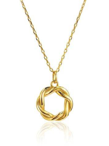 18ct Gold on Sterling Silver Open Twisted Pendant Necklace, image