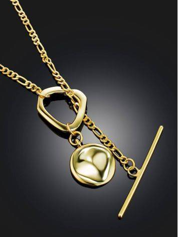 Gold Plated Silver Disk T-Bar Necklace The Ifamore, image , picture 2