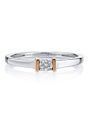 Silver Golden Ring With Diamond Centerstone The Diva, Ring Size: 7 / 17.5, image , picture 3
