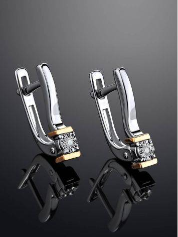 Silver Golden Earrings With White Diamonds The Diva, image , picture 2