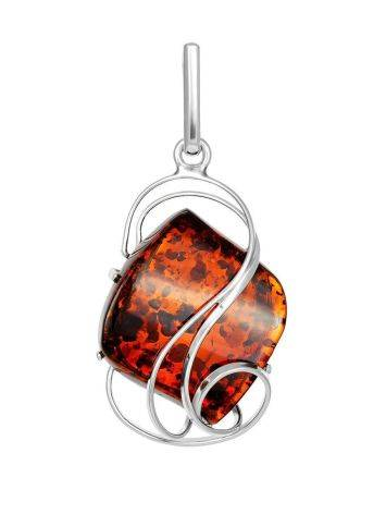 Bold Silver Handcrafted Pendant With Amber The Rialto, image
