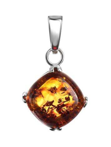 Square Silver Pendant With Cognac Amber The Byzantium, image