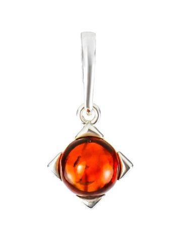 Square Silver Pendant With Cherry Amber The Rondo, image