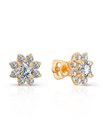 Classy Gold Plated Stud Earrings With Crystals, image