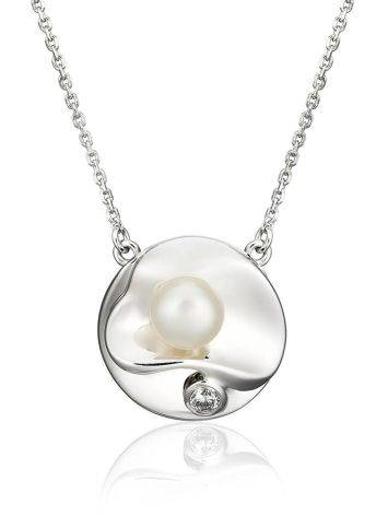 Adorable Silver Necklace With Cultured Pearl Pendant The Serene, image