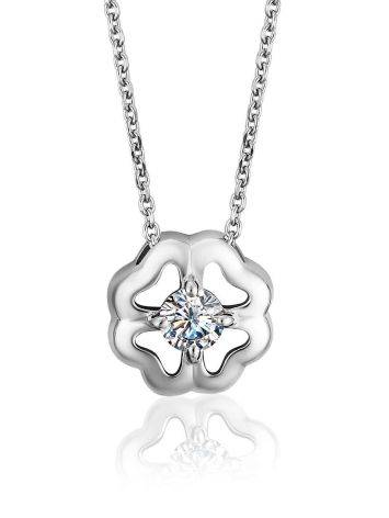 Romantic Silver Necklace With Four Petal Pendant And Crystal, image
