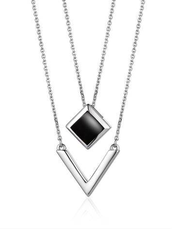 Silver Necklace With Two Geometric Pendants, image
