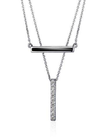 Silver Necklace With 2 Geometric Pendants, image