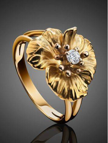 Golden Floral Ring With White Diamond, Ring Size: 7 / 17.5, image , picture 2