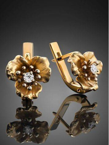 Ultra Feminine Golden Floral Earrings With Diamonds, image , picture 2