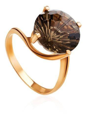 Gold Ring With Dark Smoky Quartz, image