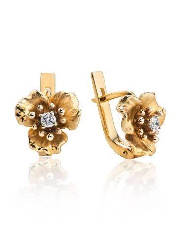 Ultra Feminine Golden Floral Earrings With Diamonds, image