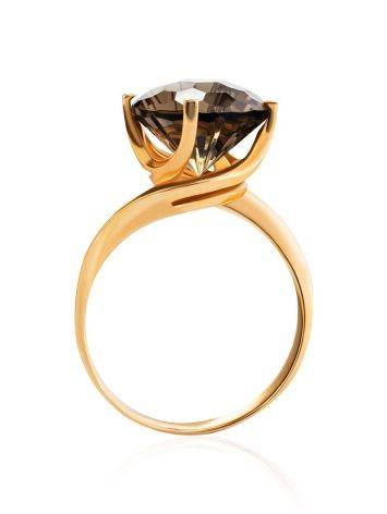 Gold Ring With Dark Smoky Quartz, image , picture 4