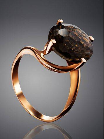 Gold Ring With Dark Smoky Quartz, image , picture 2