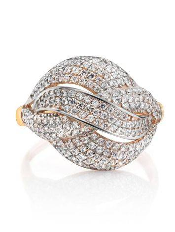 Golden Cocktail Ring With Profusion Of Crystals, Ring Size: 9.5 / 19.5, image , picture 3