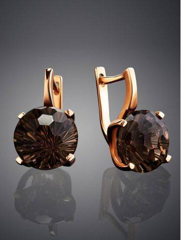 Classy Golden Earrings With Smoky Quartz, image , picture 2