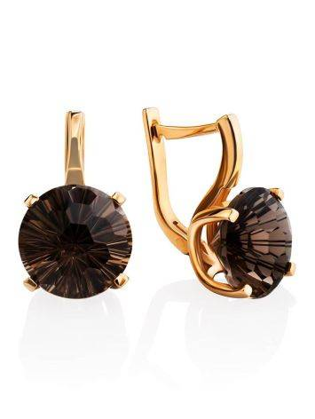 Classy Golden Earrings With Smoky Quartz, image