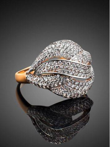Golden Cocktail Ring With Profusion Of Crystals, Ring Size: 9.5 / 19.5, image , picture 2