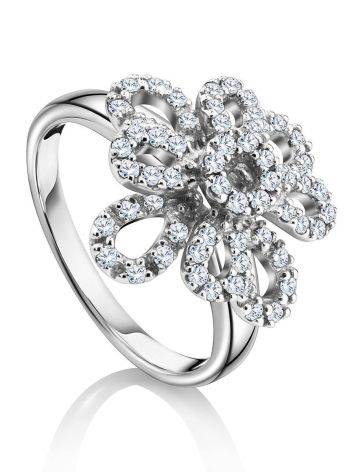 64 Diamonds Gold Floral Ring, Ring Size: 8.5 / 18.5, image