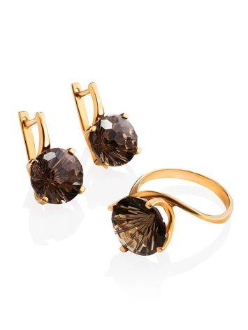 Classy Golden Earrings With Smoky Quartz, image , picture 4