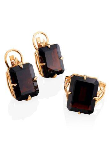 Geometric Golden Earrings With Synthetic Garnet, image , picture 4