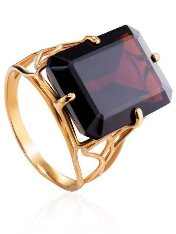 Geometric Golden Ring With Synthetic Garnet, Ring Size: 8.5 / 18.5, image