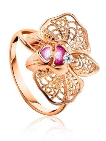 Golden Cocktail Ring With Crystals And Pink Enamel, Ring Size: 8.5 / 18.5, image
