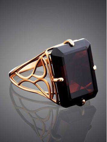 Geometric Golden Ring With Synthetic Garnet, Ring Size: 8.5 / 18.5, image , picture 2