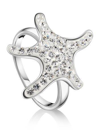 Silver Starfish Ring With Crystals The Jungle, Ring Size: 7 / 17.5, image